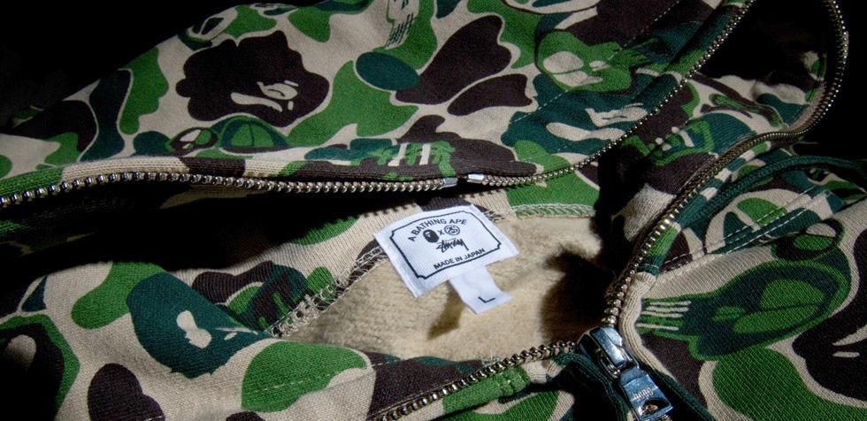 Stussy and A Bathing Ape Hoodie Details